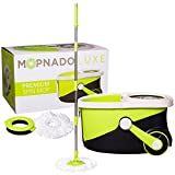 MOPNADO – Deluxe Stainless Steel Rolling Spin Mop System with 2 Replacement Microfiber Mop Heads and Brush Attachment – Walkable with Wheels - Perfect For All Floor Types - Home and Commercial Use