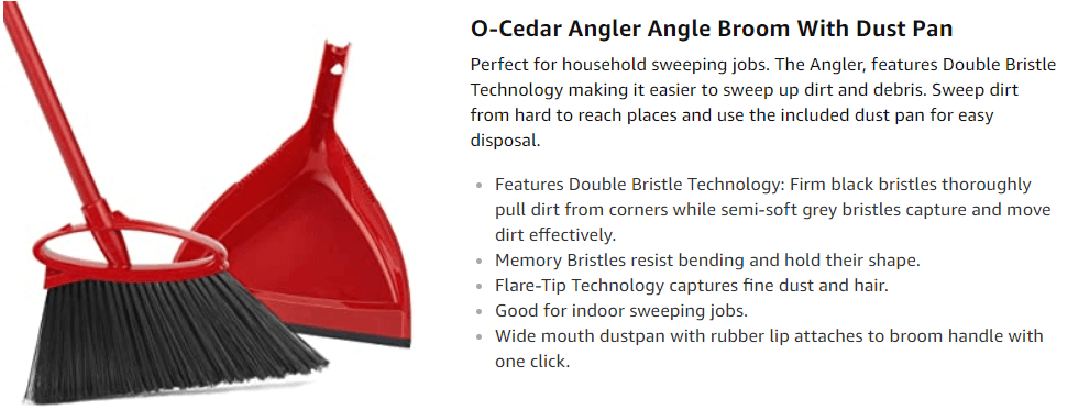 O-Cedar Angler Angle Broom With Dust Pan